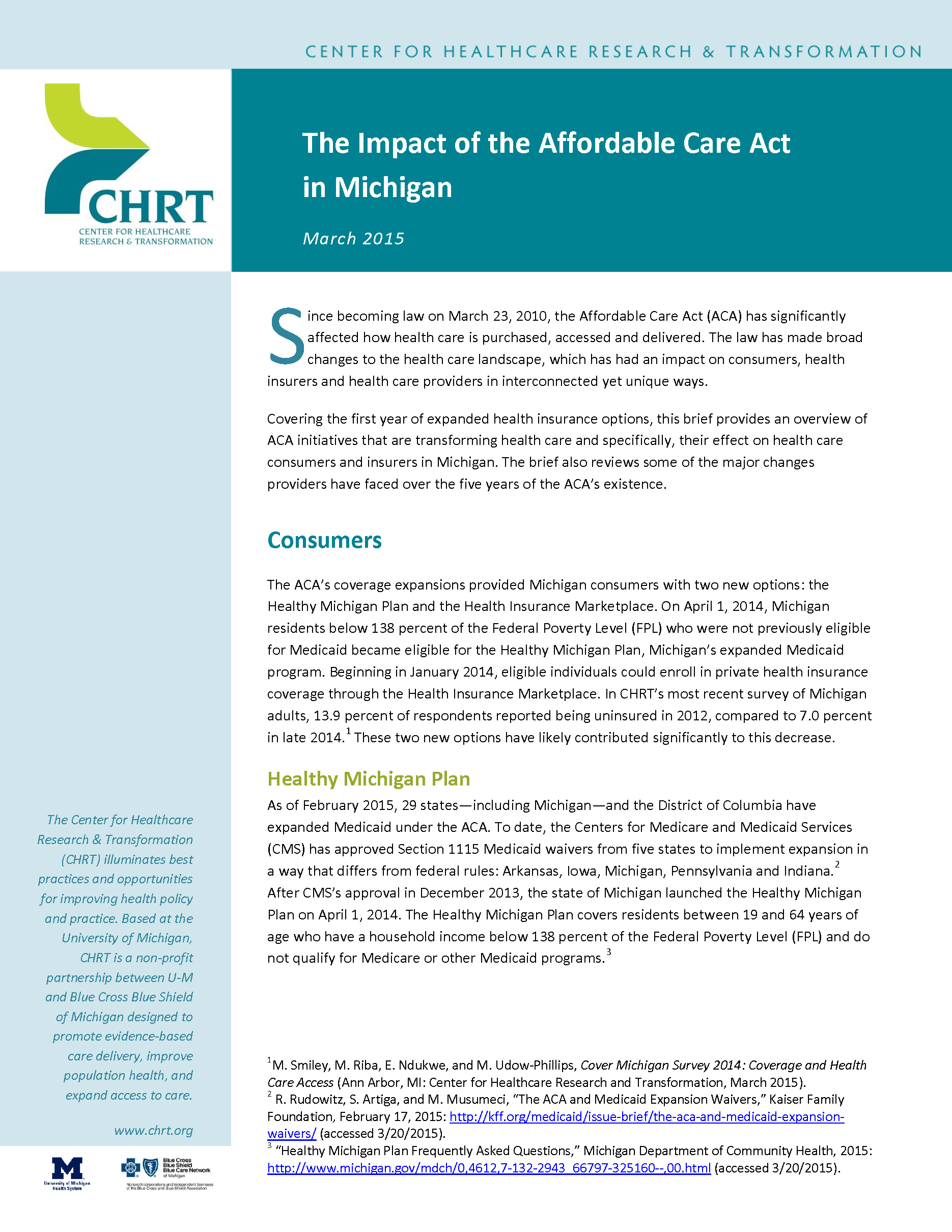 The Impact of the Affordable Care Act in Michigan | Center