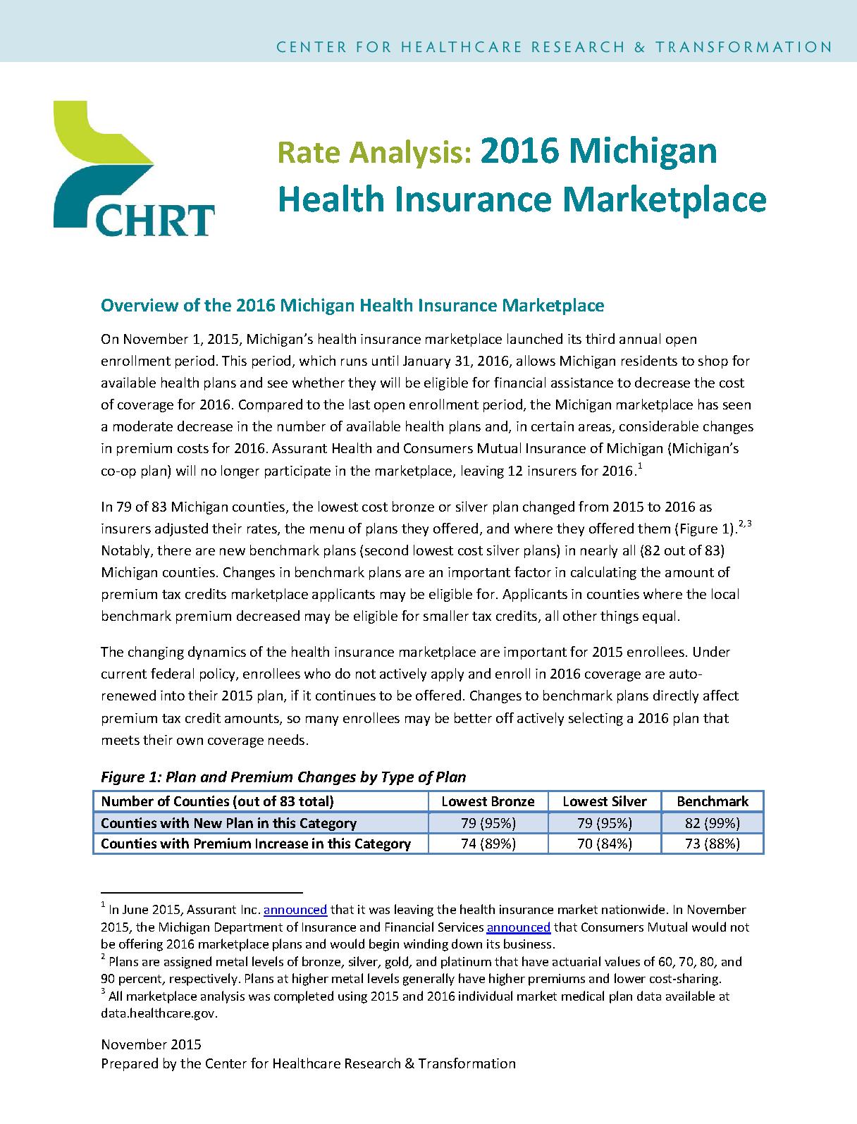 Rate Analysis: 2016 Michigan Health Insurance Marketplace