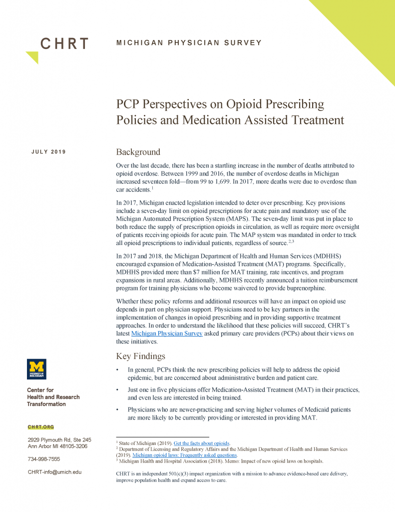CHRT Michigan Physician Survey – Perspectives on opioid